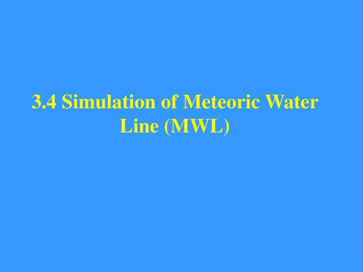 3.4 Simulation of Meteoric Water Line (MWL)