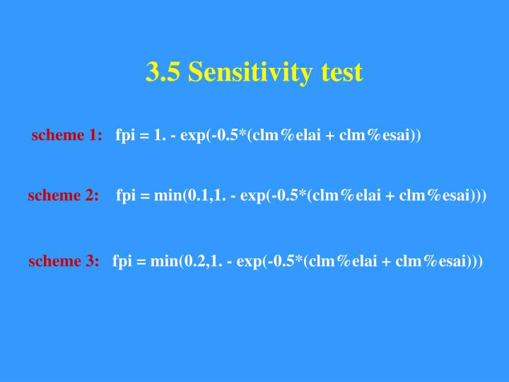 3.5 Sensitivity test