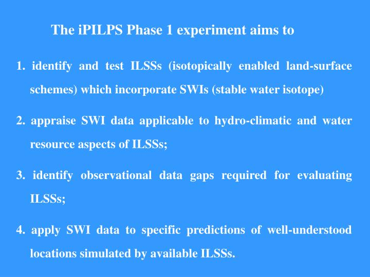 The iPILPS Phase 1 experiment aims to