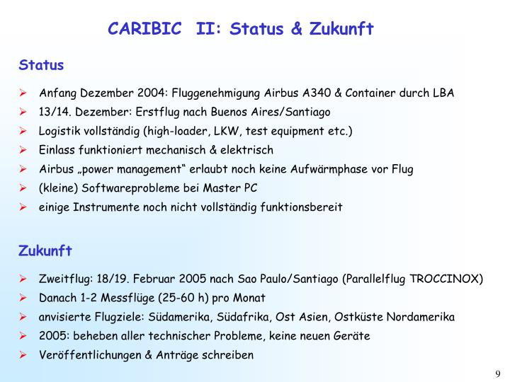 CARIBIC  II: Status & Zukunft