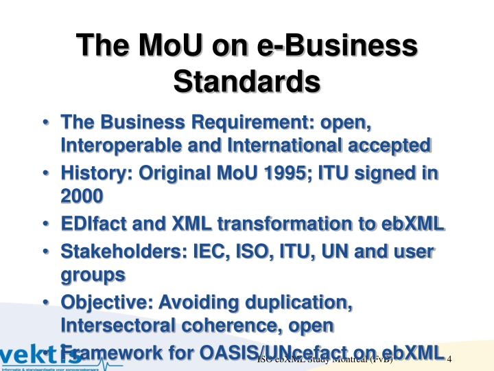 The MoU on e-Business Standards
