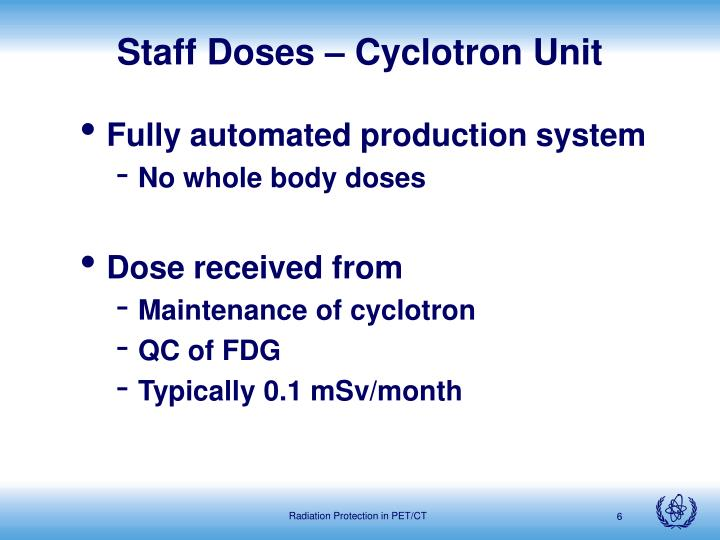 Staff Doses – Cyclotron Unit