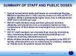 summary of staff and public doses