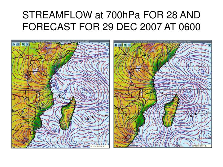 STREAMFLOW at 700hPa FOR 28 AND FORECAST FOR 29 DEC 2007 AT 0600