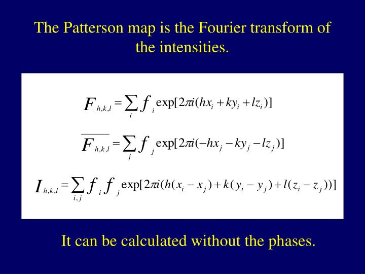 The Patterson map is the Fourier transform of the intensities.