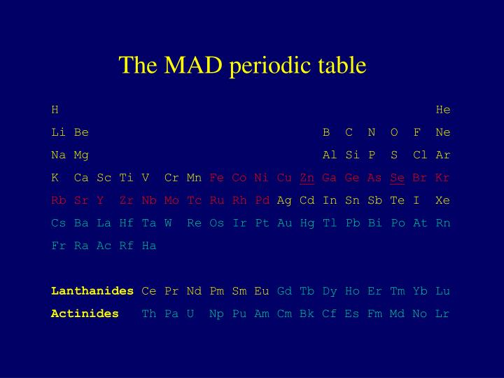 The MAD periodic table