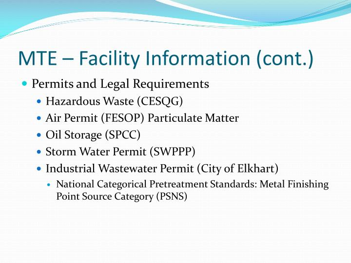 MTE – Facility Information (cont.)
