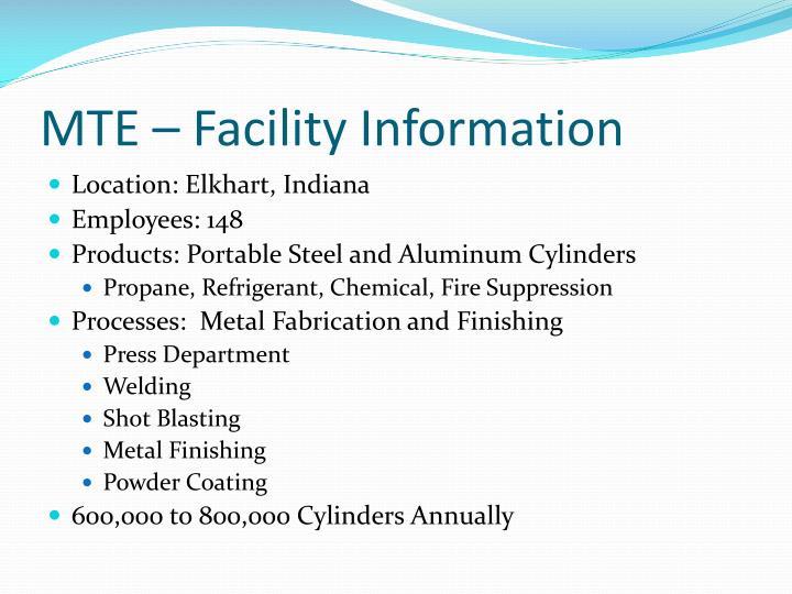 MTE – Facility Information