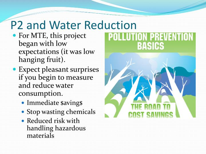 P2 and Water Reduction