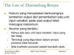 the law of diminishing return