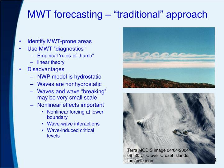"MWT forecasting – ""traditional"" approach"