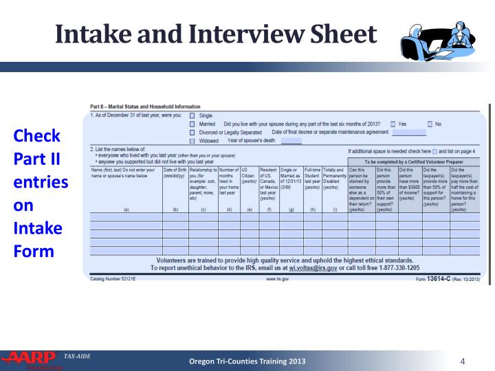 Intake and Interview Sheet