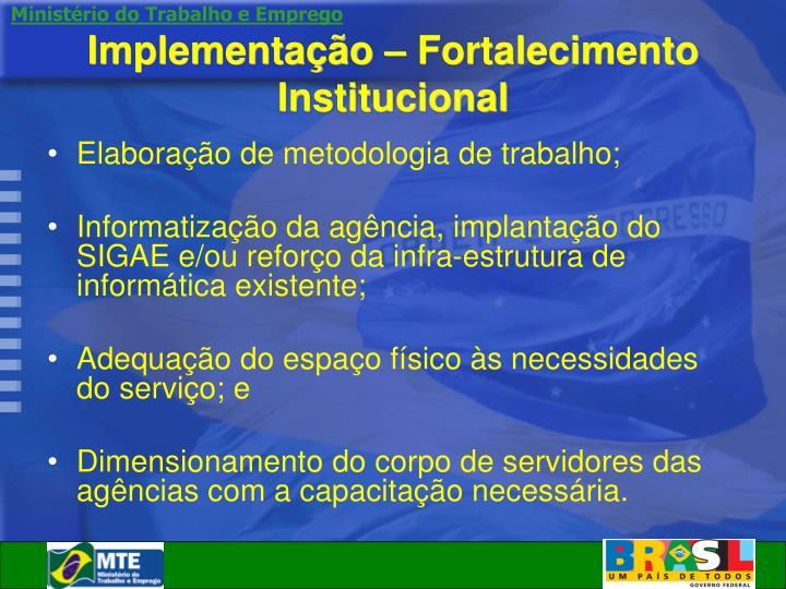 Implementação – Fortalecimento Institucional