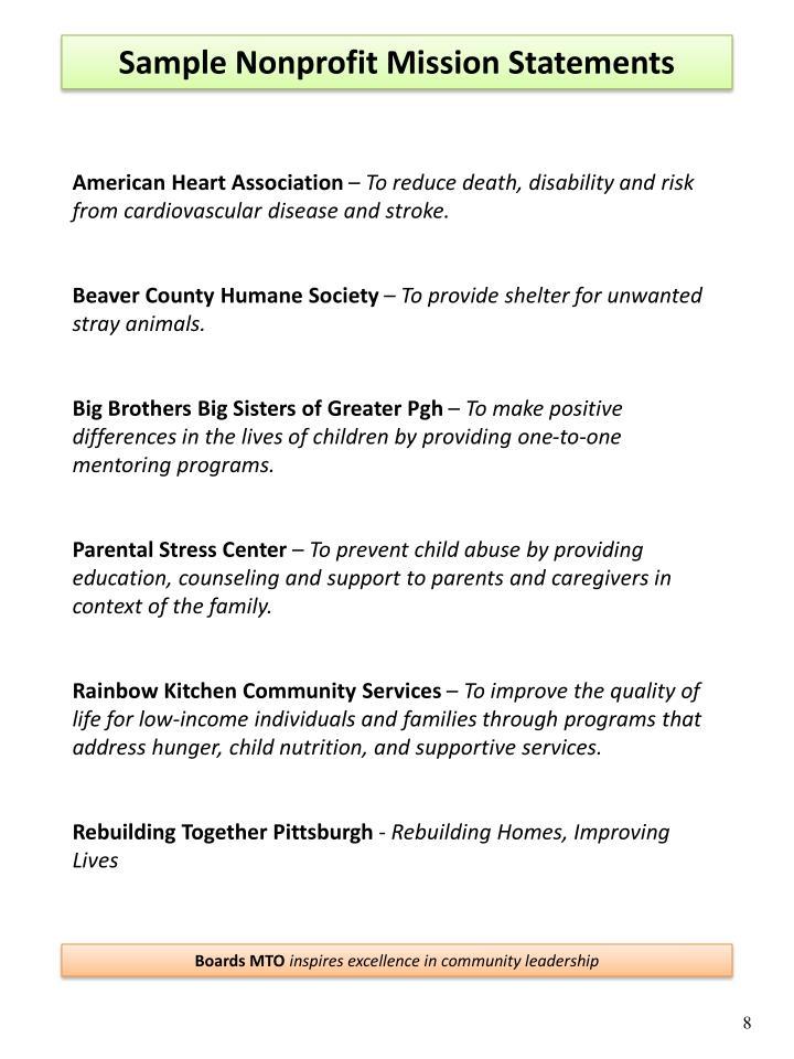 Sample Nonprofit Mission Statements