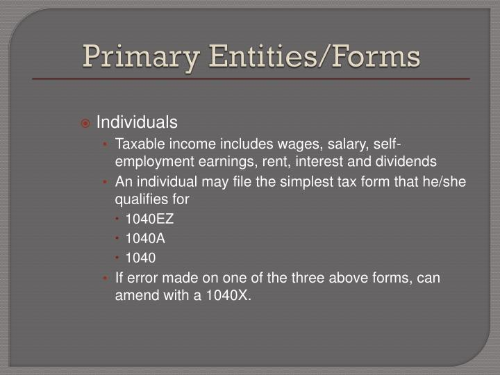 Primary entities forms