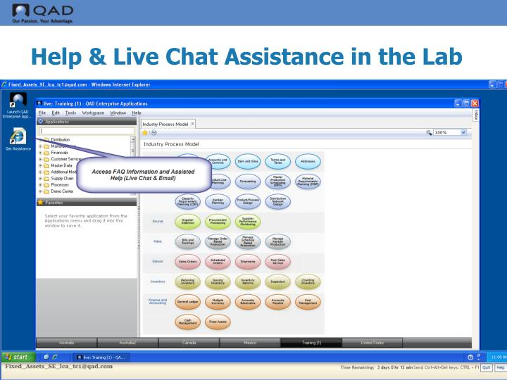 Help & Live Chat Assistance in the Lab