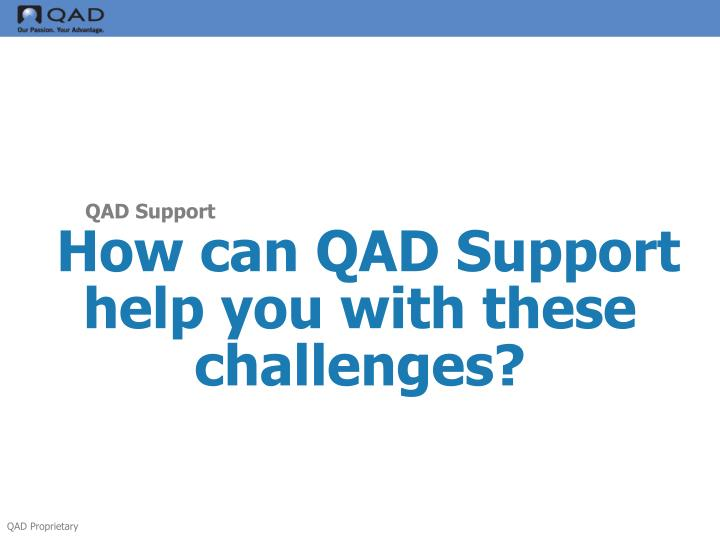 How can QAD Support help you with these challenges?