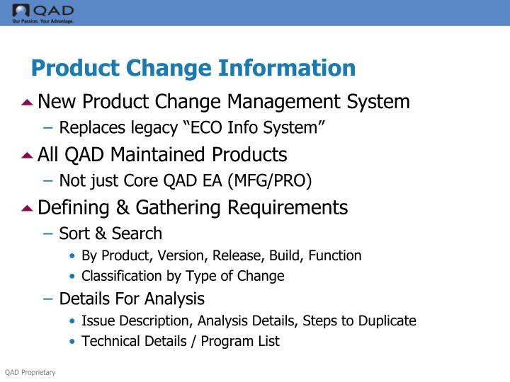 Product Change Information