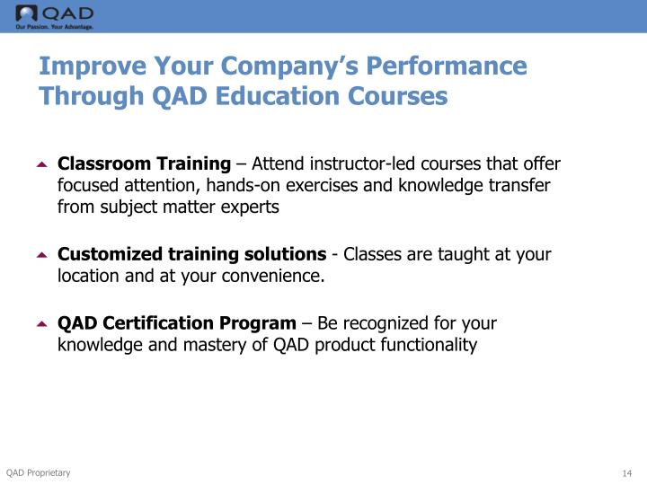 Improve Your Company's Performance Through QAD Education Courses