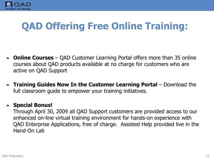 QAD Offering Free Online Training:
