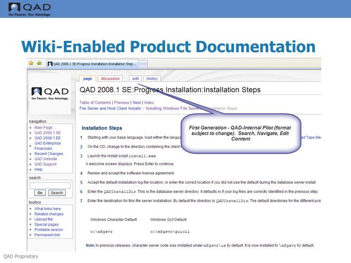 Wiki-Enabled Product Documentation