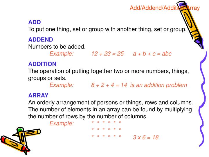 Add/Addend/Addition/Array