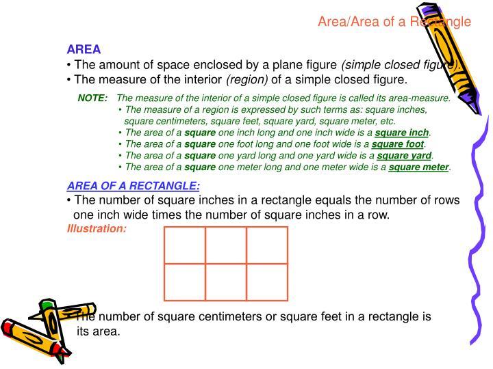 Area/Area of a Rectangle