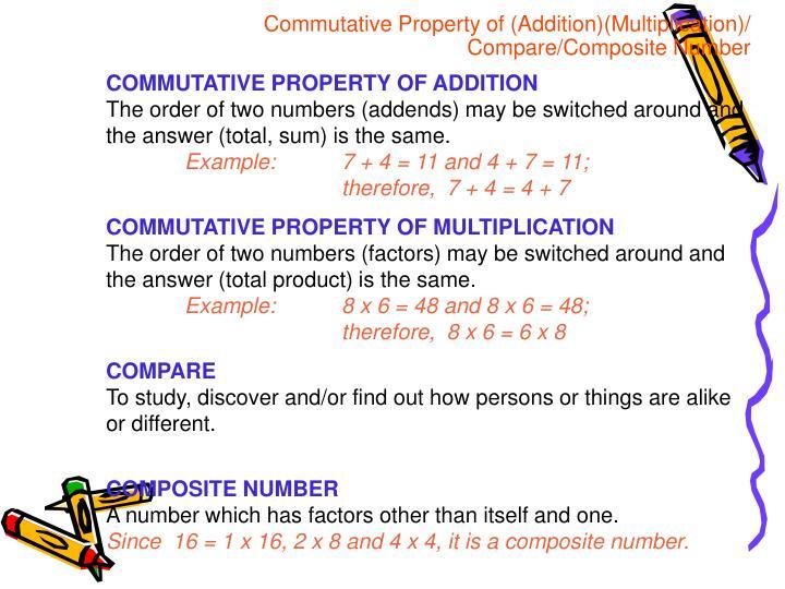 Commutative Property of (Addition)(Multiplication)/