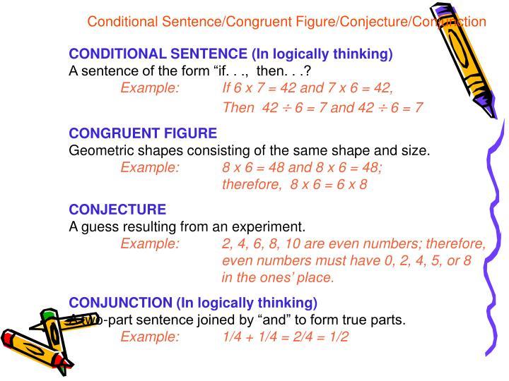Conditional Sentence/Congruent Figure/Conjecture/Conjunction