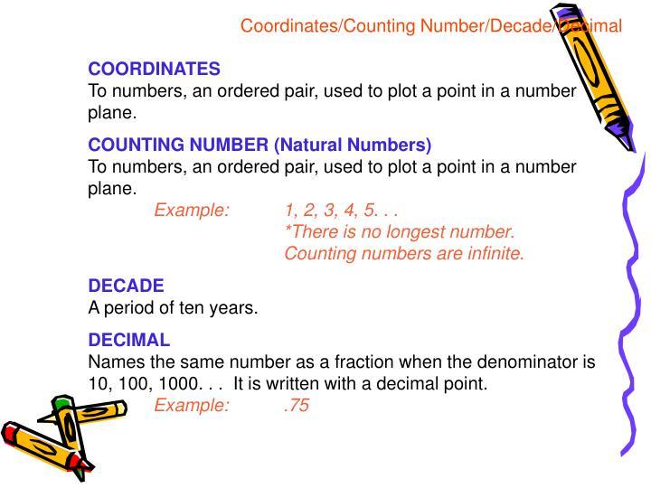 Coordinates/Counting Number/Decade/Decimal