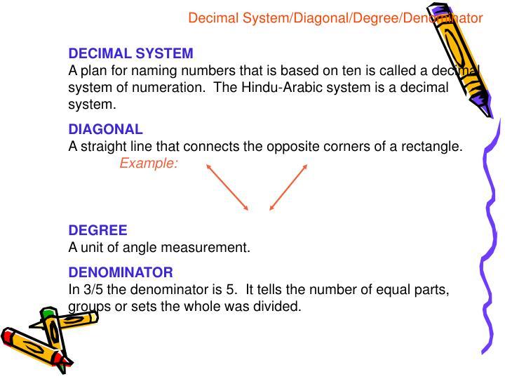 Decimal System/Diagonal/Degree/Denominator