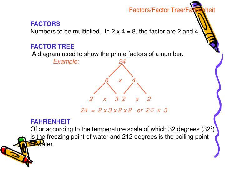 Factors/Factor Tree/Fahrenheit