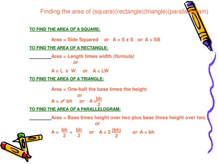 Finding the area of (square)(rectangle)(triangle)(parallelogram)