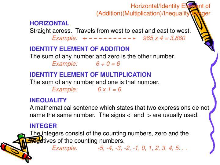 Horizontal/Identity Element of (Addition)(Multiplication)/Inequality/Integer