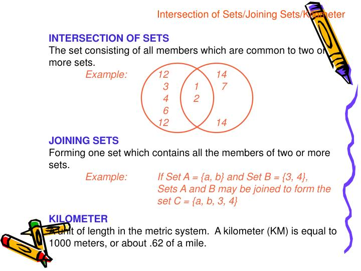 Intersection of Sets/Joining Sets/Kilometer