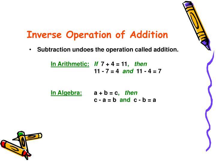 Inverse Operation of Addition