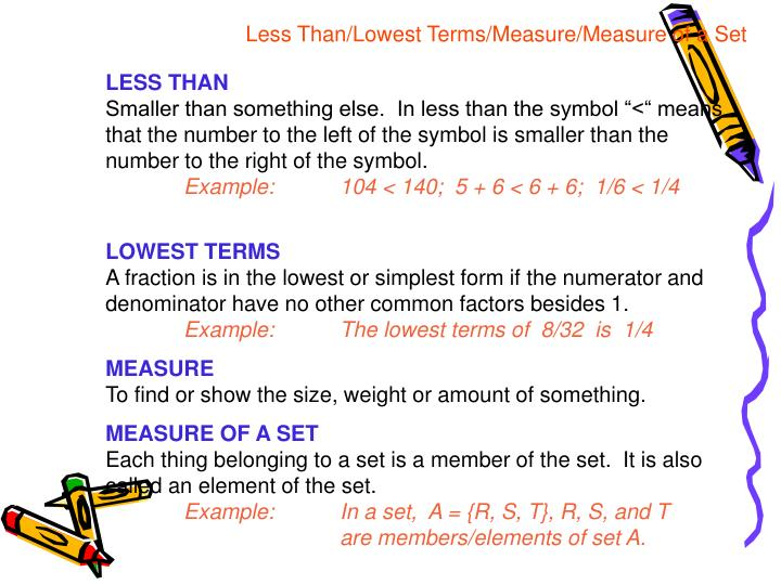 Less Than/Lowest Terms/Measure/Measure of a Set