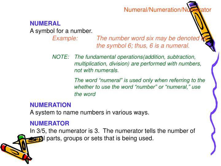 Numeral/Numeration/Numerator