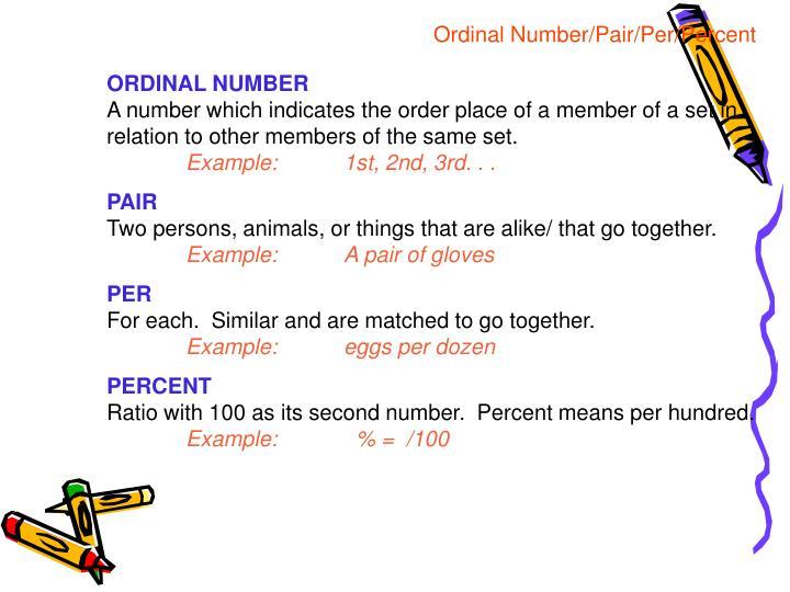 Ordinal Number/Pair/Per/Percent