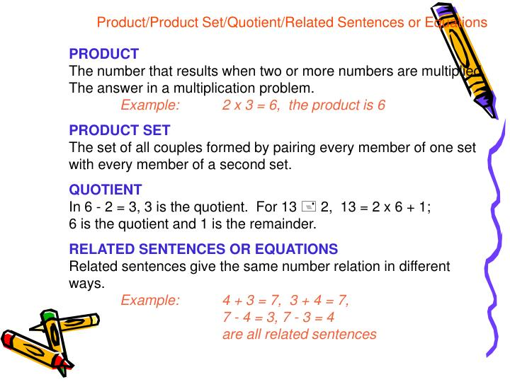 Product/Product Set/Quotient/Related Sentences or Equations