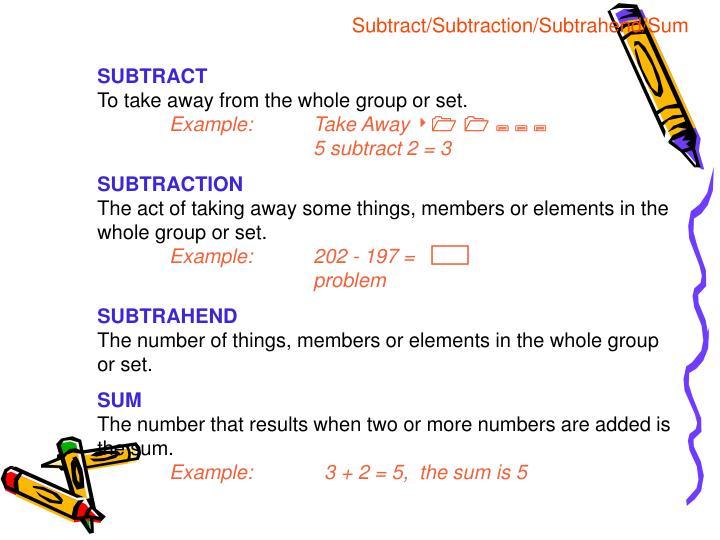 Subtract/Subtraction/Subtrahend/Sum