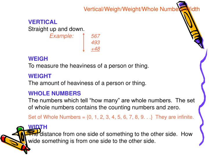 Vertical/Weigh/Weight/Whole Numbers/Width