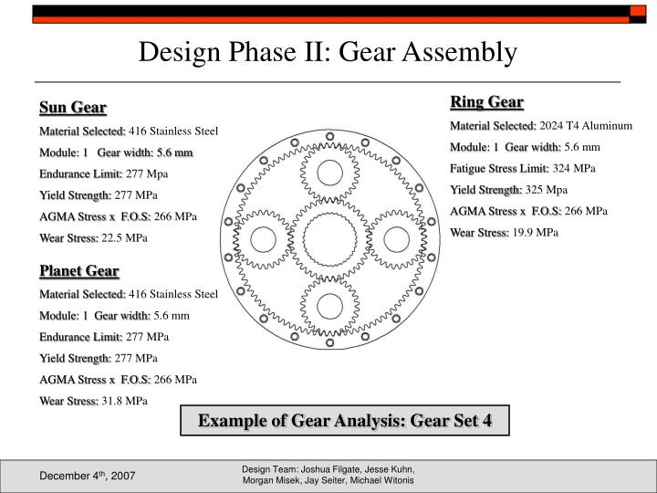 Design Phase II: Gear Assembly