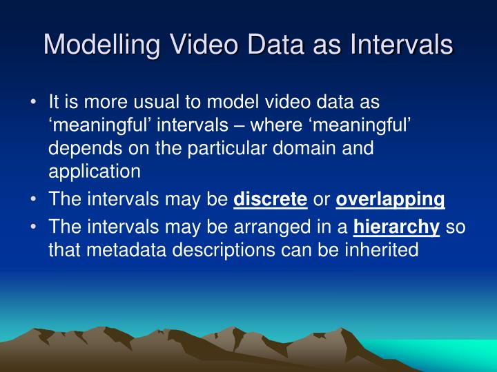 Modelling Video Data as Intervals