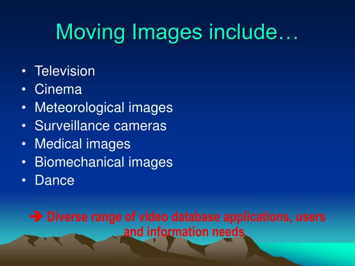Moving Images include…