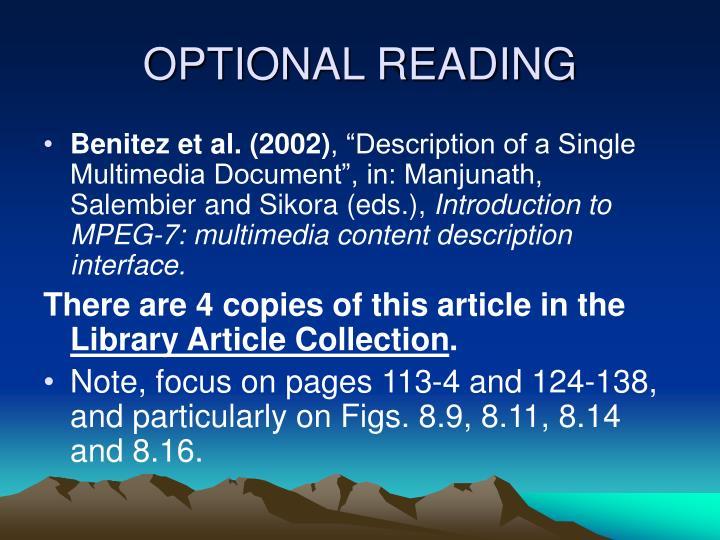 OPTIONAL READING