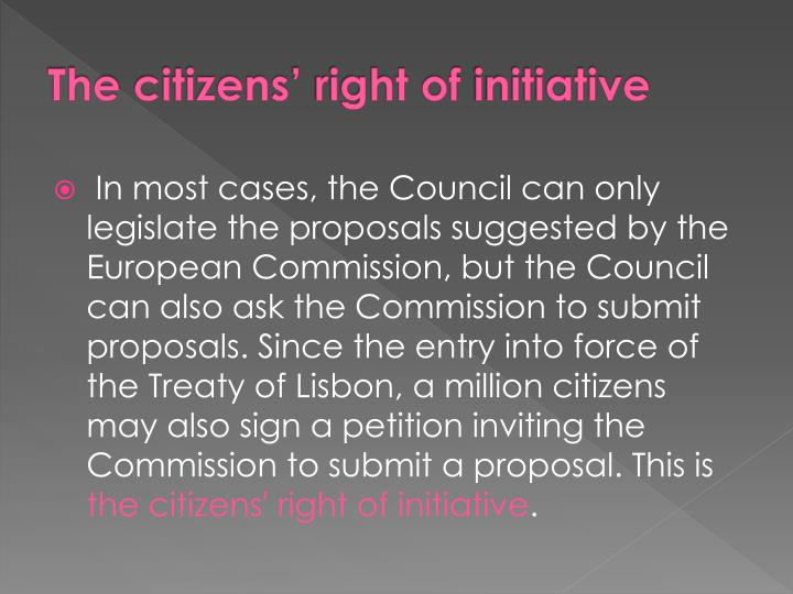 The citizens right of initiative