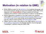 motivation in relation to gme