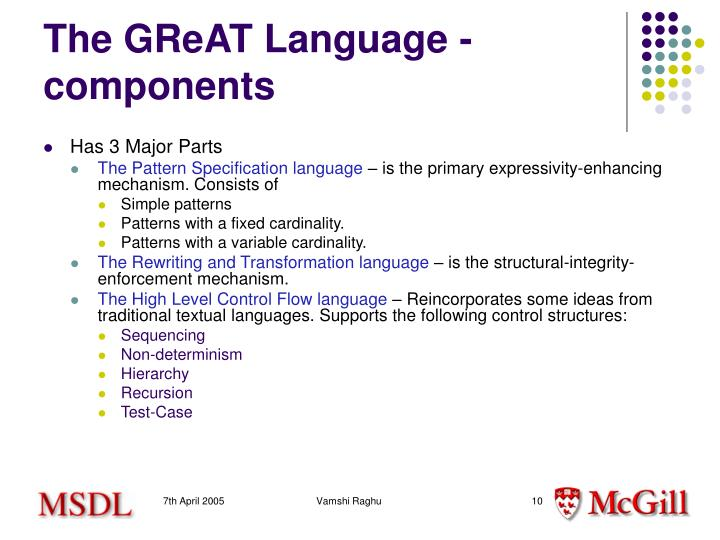 The GReAT Language - components