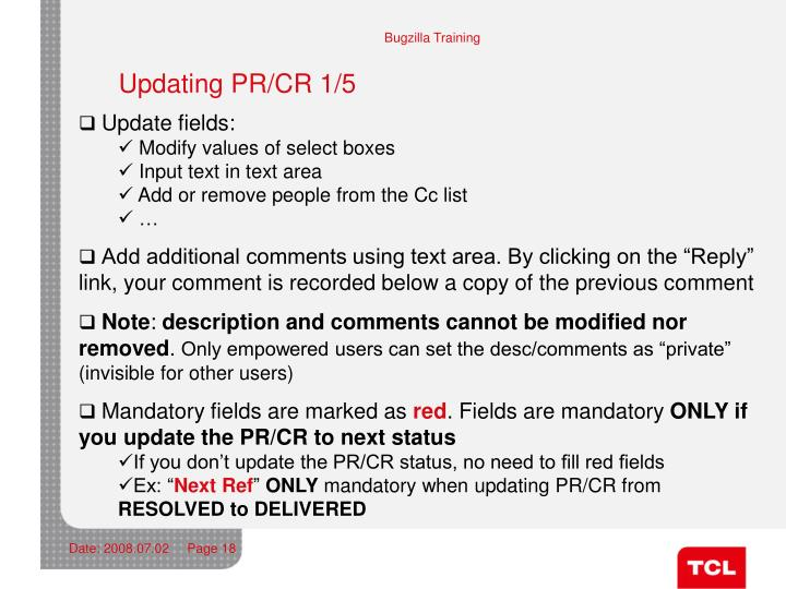 Updating PR/CR 1/5